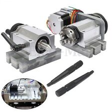 CNC Router Rotational Rotary Axis, A-axis, 4th-axis,80mm 3-Jaw Chuck &Tail stock