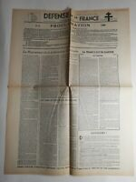 N256 La Une Du Journal Defense de la France 15 janvier 1944 proclamation