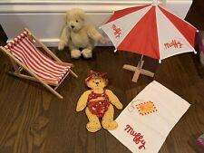 "Muffy VanderBear ""At The Beach""  - Bikini Towel Beach Umbrella Chair Naked Bear"