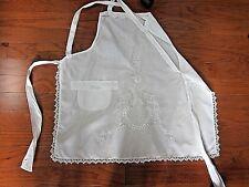 Vtg Antique Edwardian White Linen Tie & Cross Back Apron~White work Embroidery