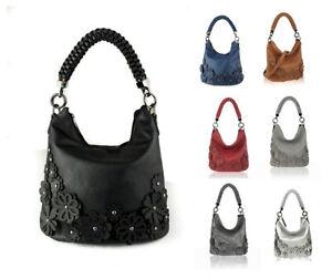 New Womens 3D Floral Effect Braided Strap Soft Shoulder Bag Tote Hobo Handbag