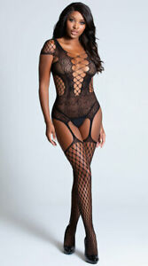Sexy Body Stocking Black Fishnet Bodysuit Open Crotch Crotchless Womens Lingerie