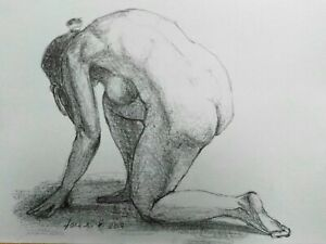Female Nude Pencil Drawing A4 White Paper Original Signed Art Crouched Figure