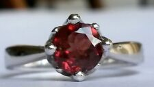Rare Red Zircon solitaire ring in a crown setting 925 size N