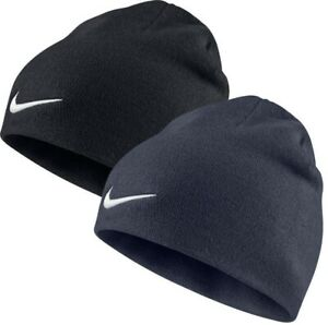 Mens Nike Beanie Hat Sports Winter Outdoors Gym Fitness - Black & Navy Blue
