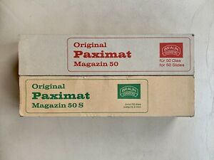 BRAUN PAXIMAT 35mm Slide Magazines x2 (Straight) 50 slide capacity