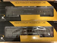"""✅ K-LINE U.S. ARMY TROOP HEAVYWEIGHT 15"""" PASSENGER CAR SET NEW! FOR LIONEL MTH"""