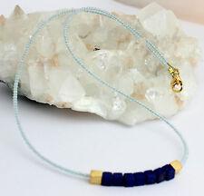 Blautopas und Lapis Kette Edelsteinkette Kugel Collier Blau topas 925 Silber neu