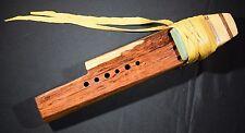 Wooden Flute Native American Style Triple w/ Deer Hide Lacing Carved Key of BBF#