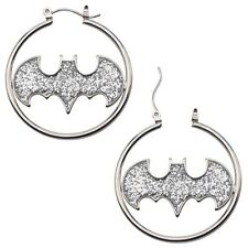 Official DC Comics Batman Glitter Bat Symbol Logo Hoop Earrings - Silver Steel