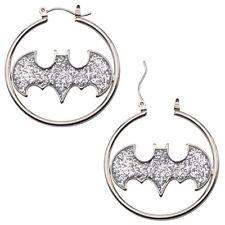 Official DC Comics Batman Glitter Bat Symbol Logo Hoop Earrings - Silver Steel