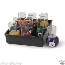 Pool Ball Billiard Shots Set of 9 Bar Glass Set Premium Gift Glasses with Tray