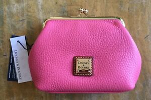 Dooney and Bourke NWT Large Coin Purse Wallet in Bubble Gum Pink Pebble Leather