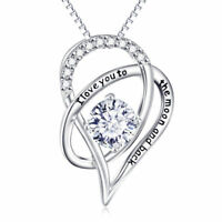 Mothers Day- I Love you to the Moon and Back Heart Necklace-18K White Gold ITALY