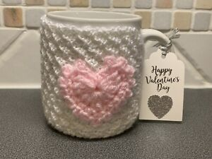 Hand Knitted White Mug Cosy With Pink Crochet Heart. Valentines Gift?