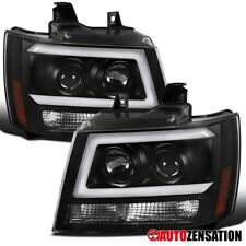 For 2007-2014 Chevy Tahoe Suburban LED DRL Bar Black Projector Headlights