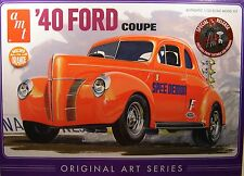 ORANGE 1940 FORD COUPE ORIGINAL ART 1:25 SCALE AMT 3n1 PLASTIC MODEL CAR KIT