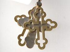 Unique 14k Two Tone Gold Triple Latin Cross Pendant