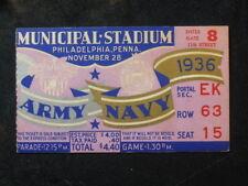 Vintage 1936 Army vs Navy Ticket Stub Municipal Stadium Row 63 NICE