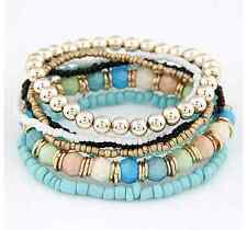 SEVEN Teal Blue Pink Green Stretchy Circle Hoop Stacked Bracelets - SHIPS FAST!