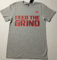 Adidas Men's Shirt The Go To Tee Shirt Feed The Grind Grey Red BU0580 Size M