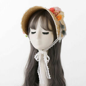 Women's Flat Straw Hat with Floral Lace Fringe Bonnet Victorian Party Straw Hat