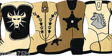 Country Western Cowboy Cowgirl Leather Boots LINE DANCE Black Wall paper Border