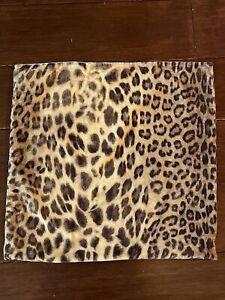 POTTERY BARN Velvet Pillow COVER, Leopard Animal Print, 18 x 18 Tan Brown Black