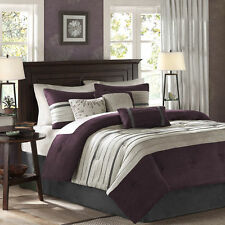 Queen Size Comforter Pillow Set 7 Piece Reversible Purple Multi Color Bedroom RV