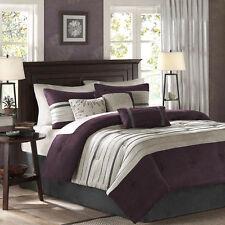Cal King Size Comforter Pillow Set 7 Piece Reversible Purple Multi Color Bedroom