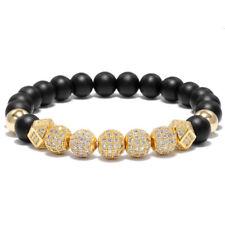 Hot Fashion Men 7 Pieces Zircon Balls Hand-Woven 8MM Matte Lava Beads Bracelets