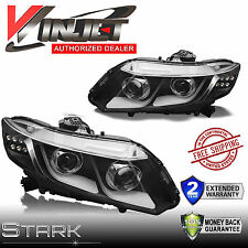 12-15 4Dr Sedan / 12-13 Coupe LED DRL Bar Projector Headlights Black PAIR