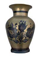 Vintage Made in India BRASS & BLACK ONYX Floral UNIQUE VASE Urn 7/5 ❤️sj7m