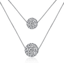 925 Sterling Silver Double Natural Crystal ball Pendant Necklace Women Jewelry
