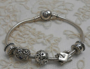 Sterling Silver PANDORA Bracelet with Charms - Heart, World, Graduation