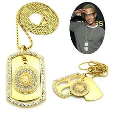MENS NEW ICED OUT HIP HOP GOLD MEDALLION DOG TAG PENDANT BOX CHAIN NECKLACE
