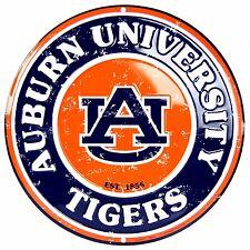 "Auburn University Tigers Embossed Metal 12"" Circle Sign"