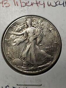 1943p walking liberty half dollar toned