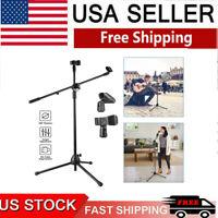 360-degree Rotating Microphone Stand Dual Mic Clip Boom Arm Foldable Tripod USA