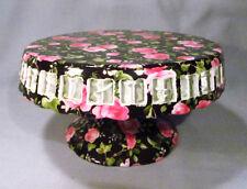 Black Floral Pink Rose Chintz Lattice Pedestal Porcelain Cake Stand