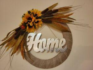HOME Sunflowers Cat tail Foxtail Mini Pomegranates burlap WREATH FALL Front Door