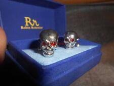 Pair of Robin Rotenier Sterling & Red Garnet Skull & Crossbones Cuff Links