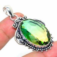 "Bi-Color Tourmaline Handmade Ethnic Style Jewelry Pendant 1.97"" R-VJ-6295"