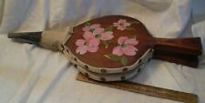 Vintage 1977 Bellows Wood Leather Metal Tole Painted