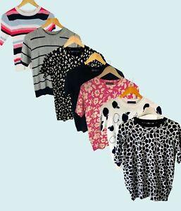 Marks & Spencer Womens Short Sleeve Floral Stripe Leaf  Knit Knited Top Jumper