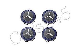 Genuine Wheel Center Hub Caps 4x SET Laurel Wreath Blue MERCEDES W203 W211 W209