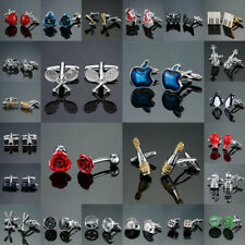 Mens Silver Black Carved Shirt Cufflinks Stainless Fashion Novelty Gift Wedding
