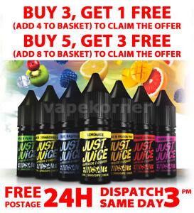 Just Juice Premium Nic Salt 10ml 5mg ,11mg , 20mg 50VG 50PG Vape POD Juice Salts