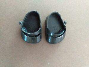 30 mm BLACK HARD PLASTIC DOLL SHOES FOR VINTAGE doll