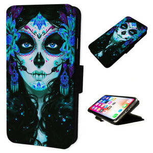 Gothic Girl Day Dead - Flip Phone Case Wallet Cover - Fits Iphones & Samsung XR
